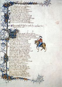 Wife of Bath's Tale in the Ellesmere Manuscript, early 1400s.