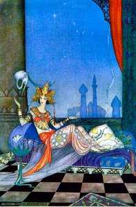 """Scheherazade went on with her story"" by Virginia Frances Sterrett. The Arabian Nights, Penn Publishing Company, 1928."