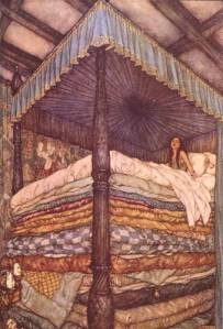 """Ah, we shall soon see that!"" said the queen mother, however, she said not a word of what she was going to do . . .  Illustration for ""The Princess and the Pea,"" by Edward Dulac from the Snow Queen and Other Stories from Hans Christian Andersen, 1911."